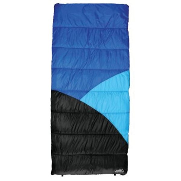 Picture of Texsport 15237 Sleeping Bag, 75 in L, 33 in W, Polyester, Black/Dark Blue/Gray/Light Blue