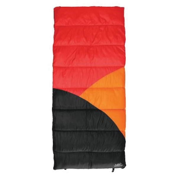 Picture of Texsport 15239 Sleeping Bag, 75 in L, 33 in W, Polyester, Black/Gray/Orange/Red