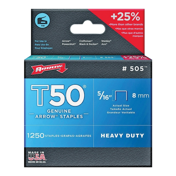 Picture of Arrow T50 Series 50524 Flat Crown Staple, 3/8 in W Crown, 5/16 in L Leg, 1250, Pack