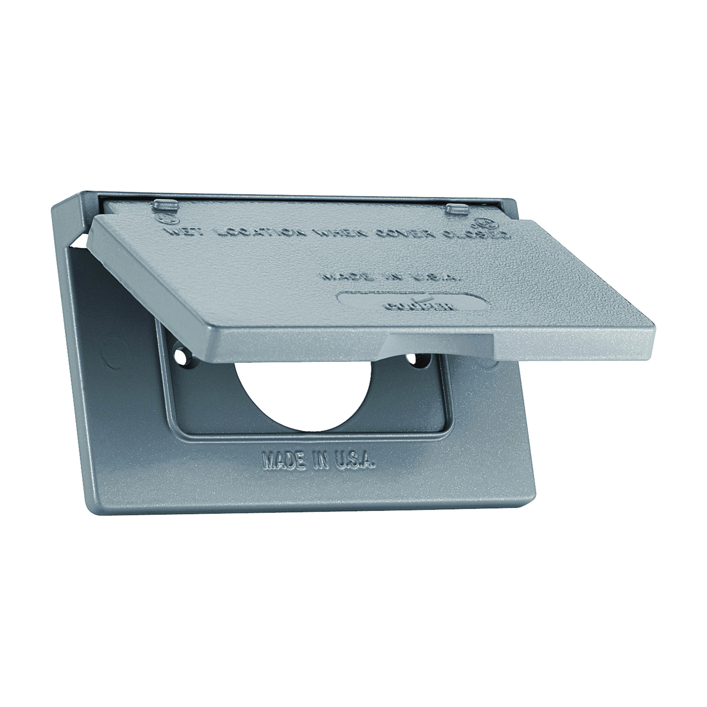 Picture of Eaton Wiring Devices S992 Cover, 4-9/16 in L, 2-13/16 in W, Rectangular, Metal, Gray, Powder-Coated