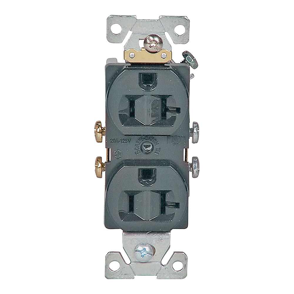 Picture of Eaton Wiring Devices 877B-BOX Duplex Receptacle, 2-Pole, 20 A, 125 V, Side Wiring, Brown