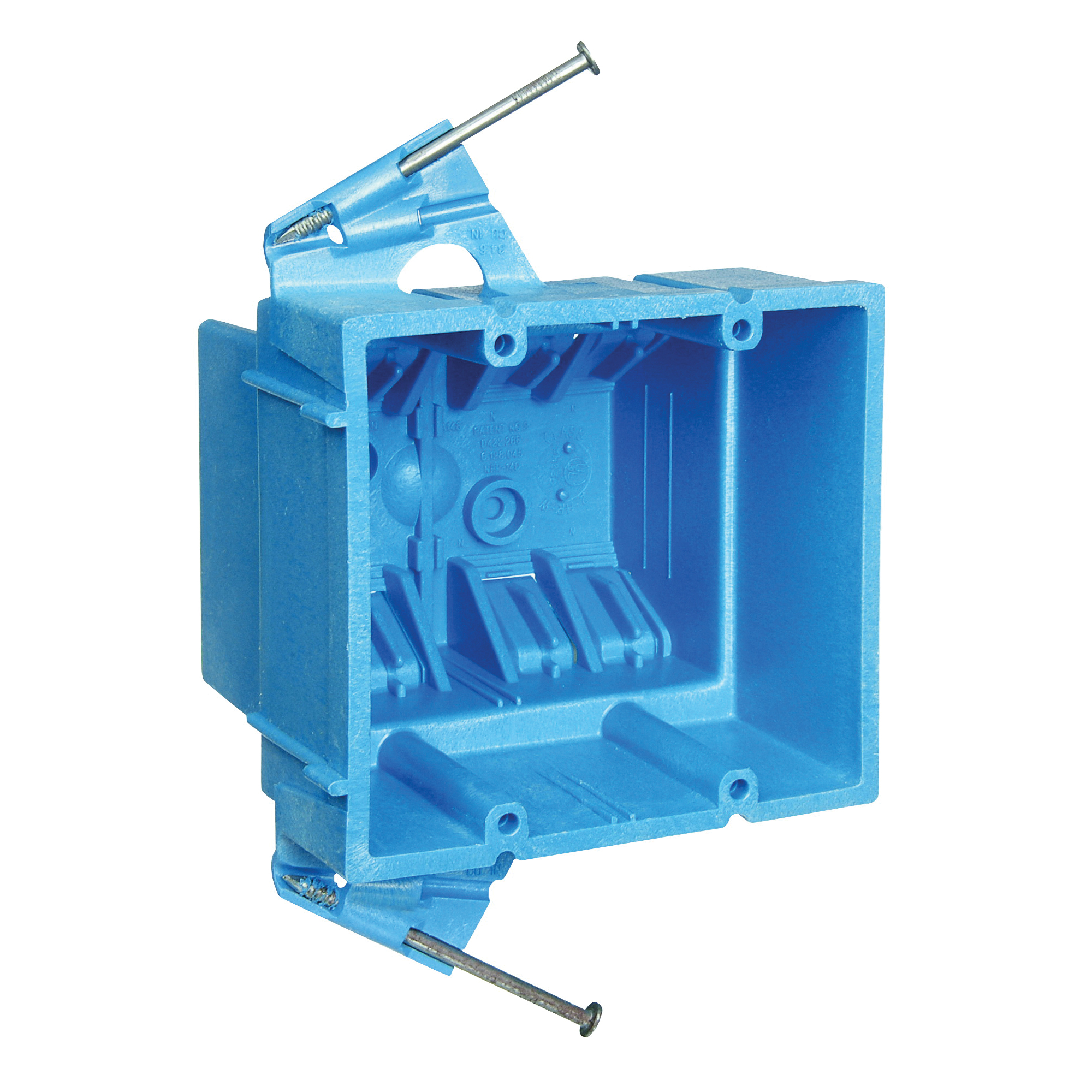 Picture of Carlon BH235A Outlet Box, 2-Gang, PVC, Blue, Nail Mounting