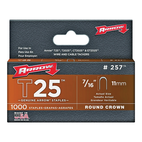 Picture of Arrow T25 Series 257 Round Crown Staple, 5/16 in W Crown, 7/16 in L Leg, 1000, Pack