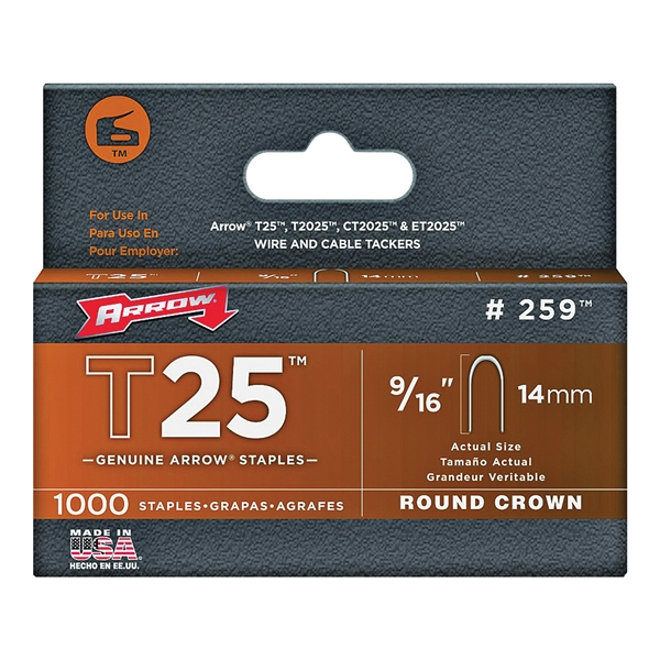 Picture of Arrow T25 Series 259 Round Crown Staple, 5/16 in W Crown, 9/16 in L Leg, 1000, Pack