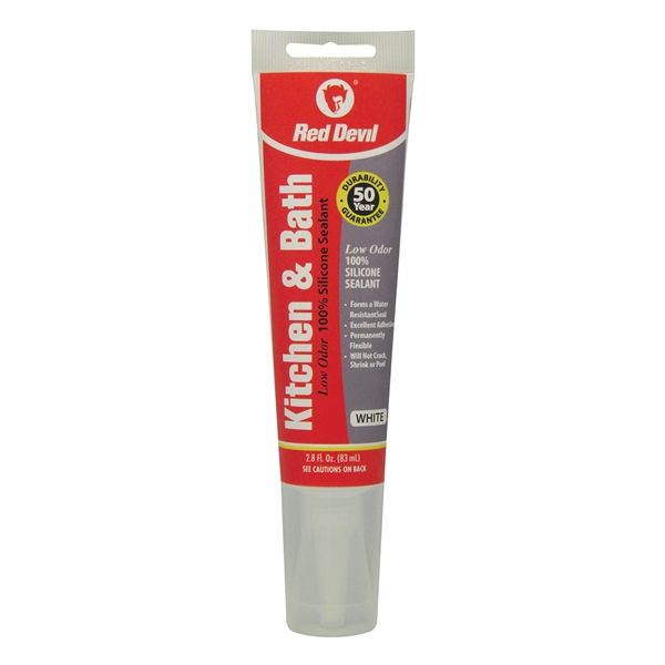 Picture of Red Devil 0883 Silicone Sealant, White, 24 hr Curing, -60 to 400 deg F, 2.8 oz Package, Tube