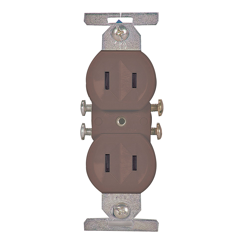 Picture of Eaton Wiring Devices 736B-BOX Duplex Receptacle, 2-Pole, 15 A, 125 V, Side Wiring, NEMA: 1-15R, Brown