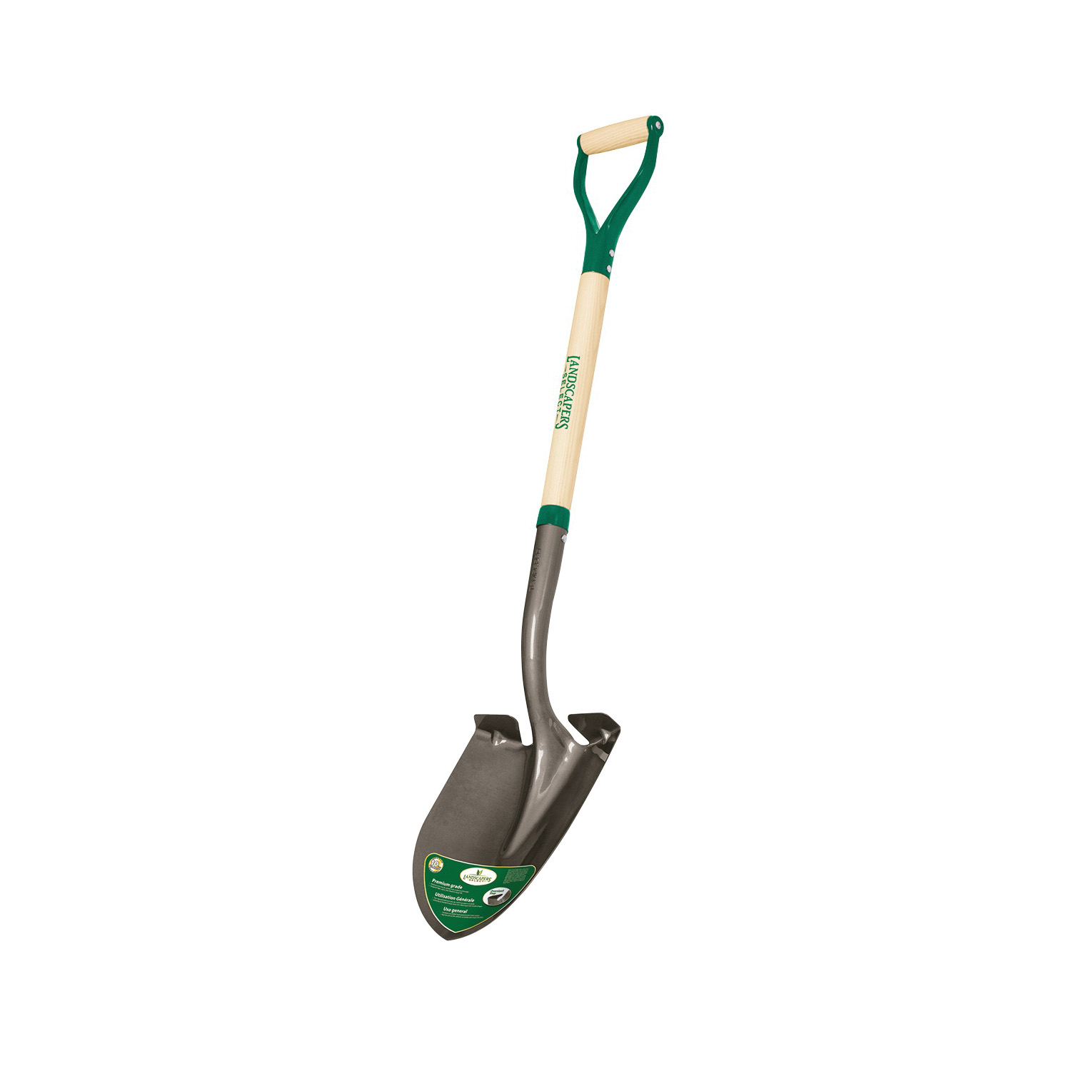 Picture of Landscapers Select 34593 Digging Shovel, Steel Blade, Steel Handle, D-Shaped Handle, 30 in L Handle