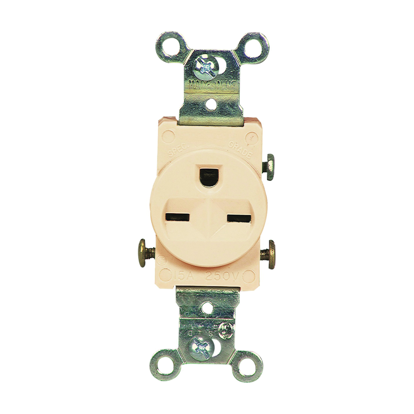 Picture of Eaton Wiring Devices 816V-BOX Single Receptacle, 2-Pole, 250 V, 15 A, Side Wiring, NEMA 6-15R, Ivory