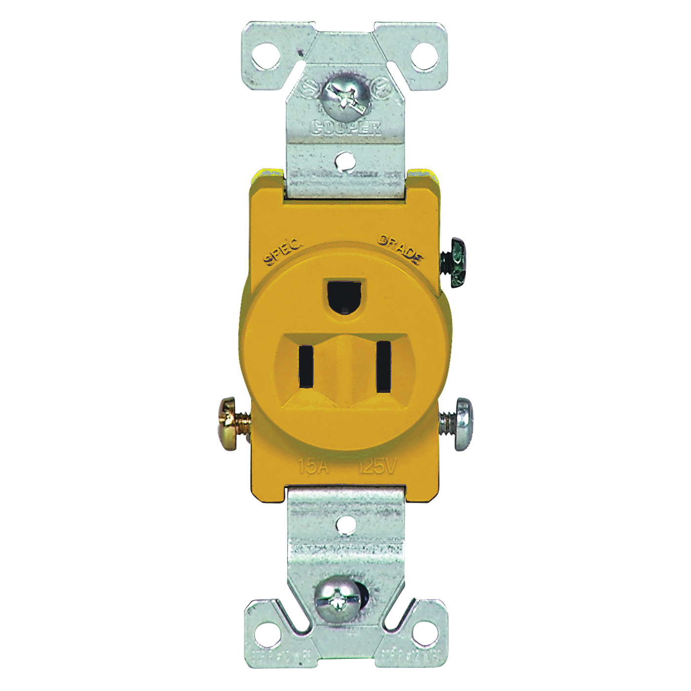 Picture of Eaton Wiring Devices 817V-BOX Single Receptacle, 2-Pole, 125 V, 15 A, Side Wiring, NEMA 5-15R, Ivory