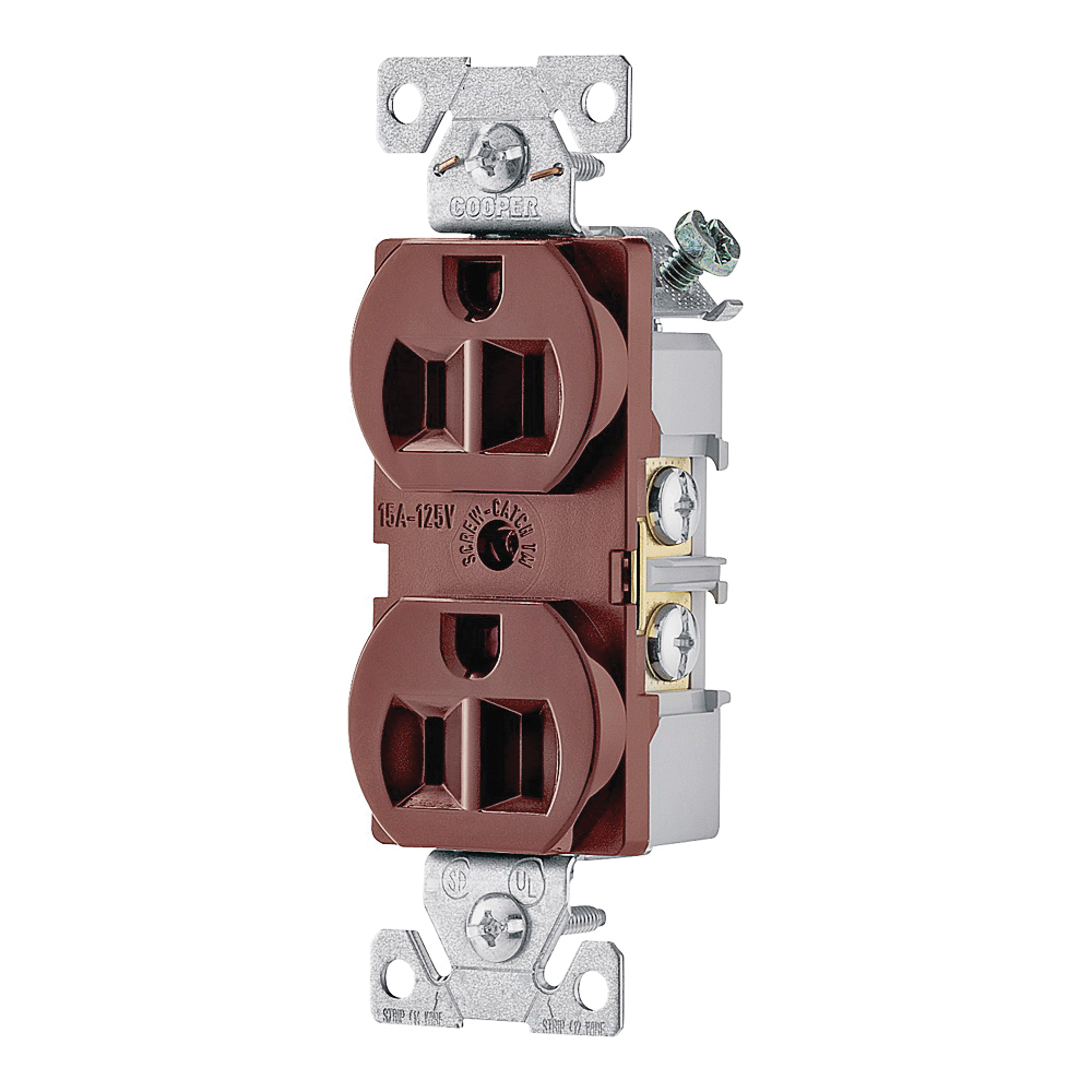Picture of Eaton Wiring Devices 827B-BOX Duplex Receptacle, 2-Pole, 15 A, 125 V, Side Wiring, NEMA: 5-15R, Brown