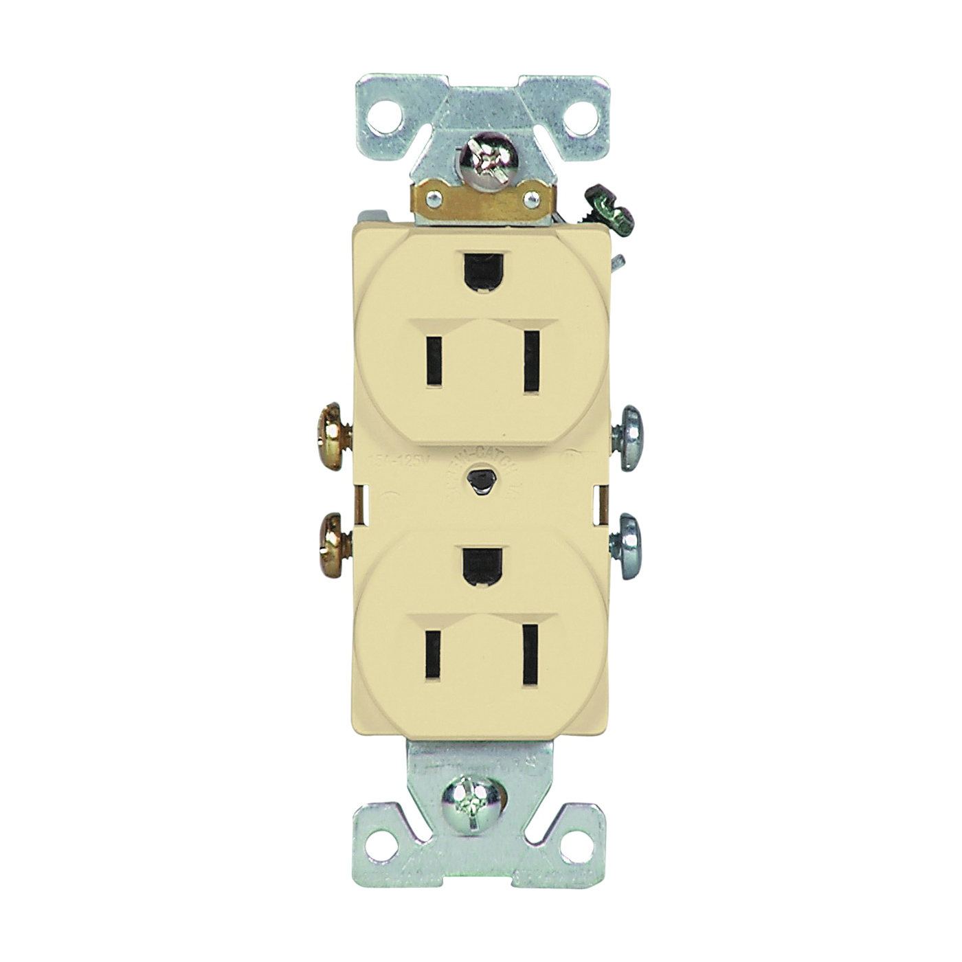 Picture of Eaton Wiring Devices 827V-BOX Duplex Receptacle, 2-Pole, 15 A, 125 V, Side Wiring, NEMA: 5-15R, Ivory