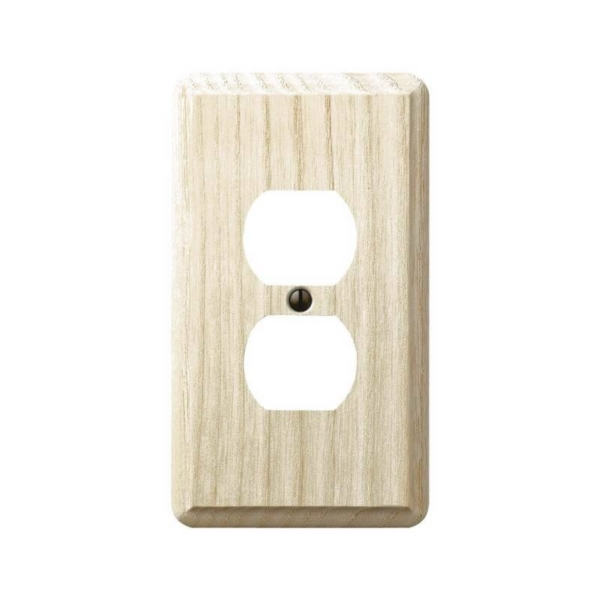 Picture of AmerTac Contemporary 401D Outlet Wallplate, 5-1/4 in L, 3 in W, 1-Gang, Wood, Ash, Screw Mounting