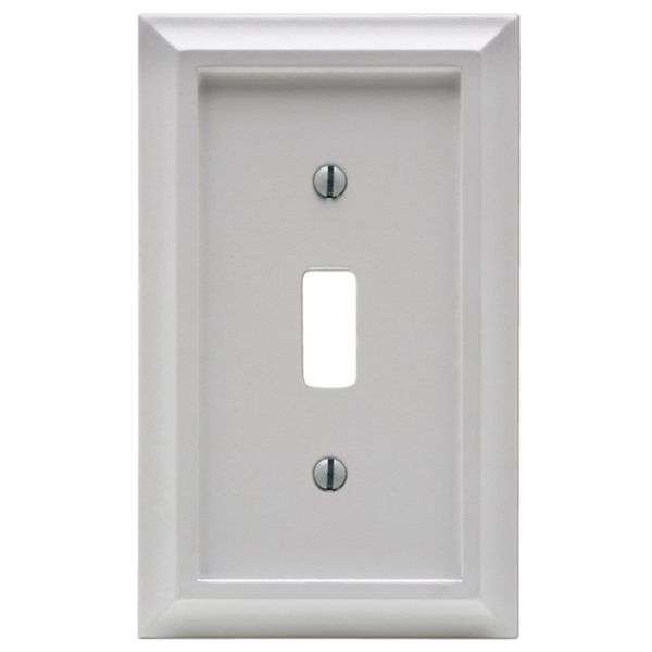 Picture of Amerelle 2040TW Wallplate, 1-Gang, Wood, White