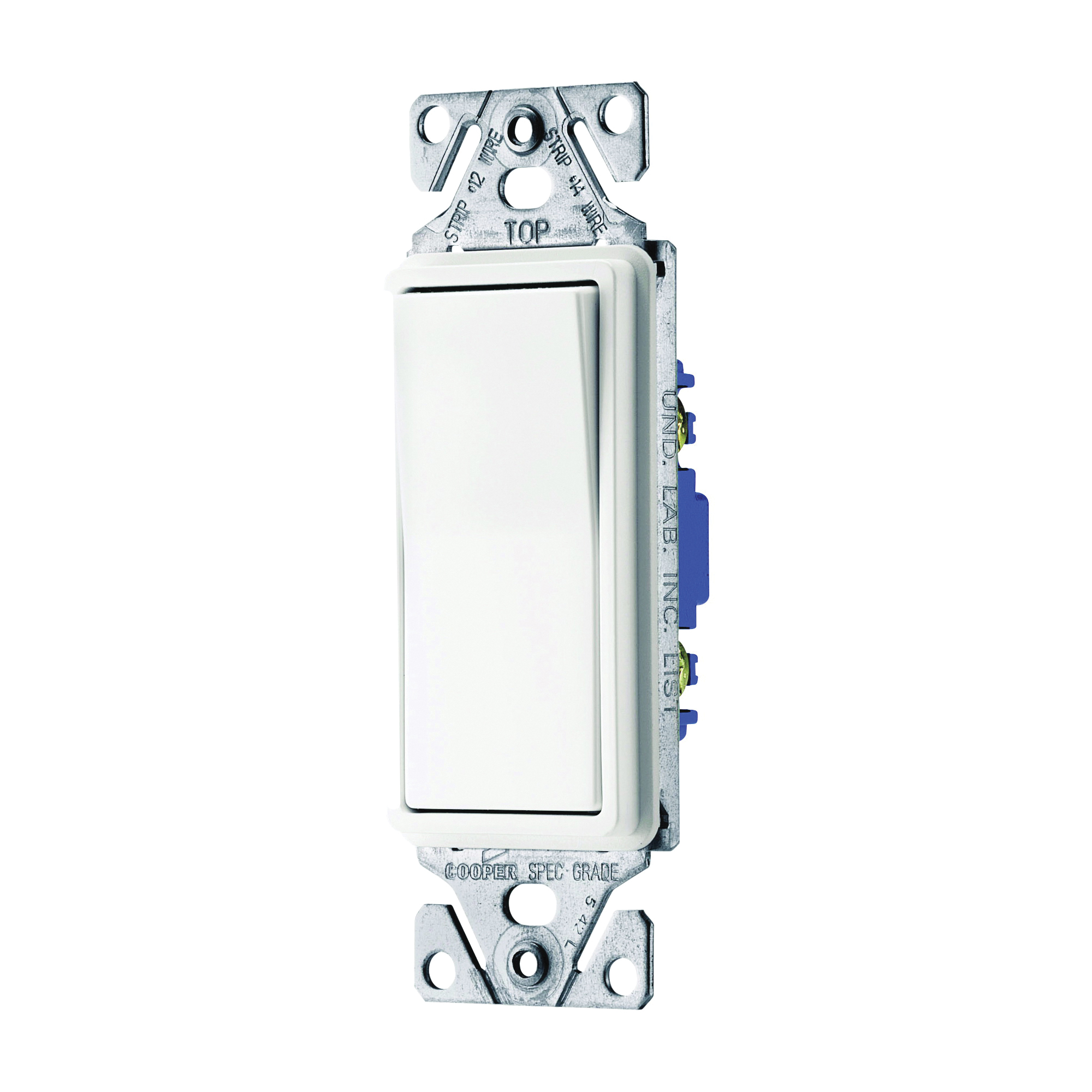 Picture of Eaton Wiring Devices 7500 Series C7511W-SP-L Rocker Switch, 15 A, 120/277 V, Single-Pole, Lead Wire Terminal, White