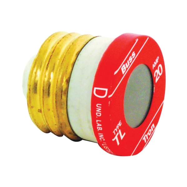 Picture of Bussmann TL-20 Time-Delay Plug Fuse, 20 A, 125 V, 10 kA Interrupt, Plastic Body, Low-Voltage Fuse