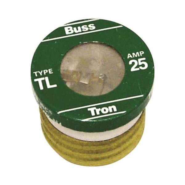 Picture of Bussmann TL-25 Time-Delay Plug Fuse, 25 A, 125 V, 10 kA Interrupt, Plastic Body, Low-Voltage Fuse