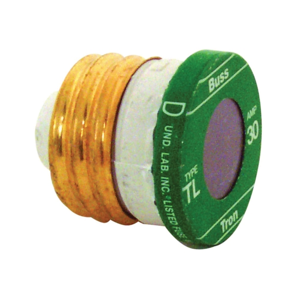 Picture of Bussmann TL-30 Time-Delay Plug Fuse, 30 A, 125 V, 10 kA Interrupt, Plastic Body, Low-Voltage Fuse