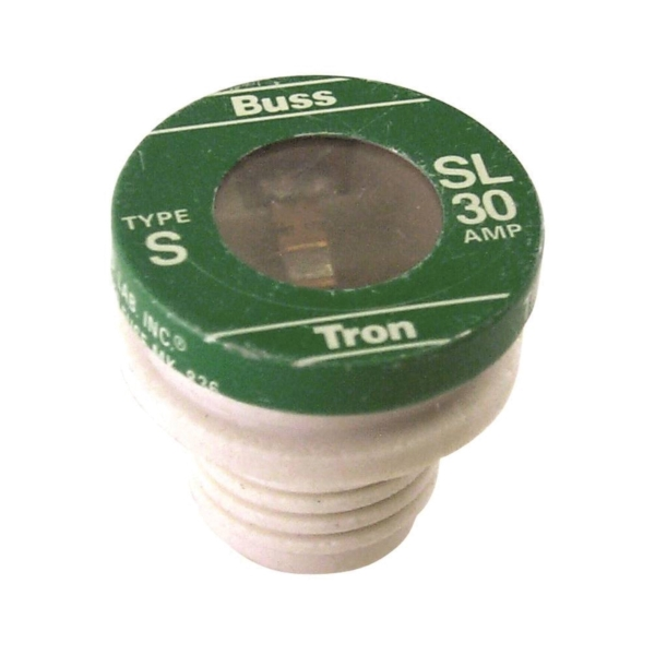 Picture of Bussmann SL-30 Time-Delay Plug Fuse, 30 A, 125 V, 10 kA Interrupt, Low-Voltage Fuse