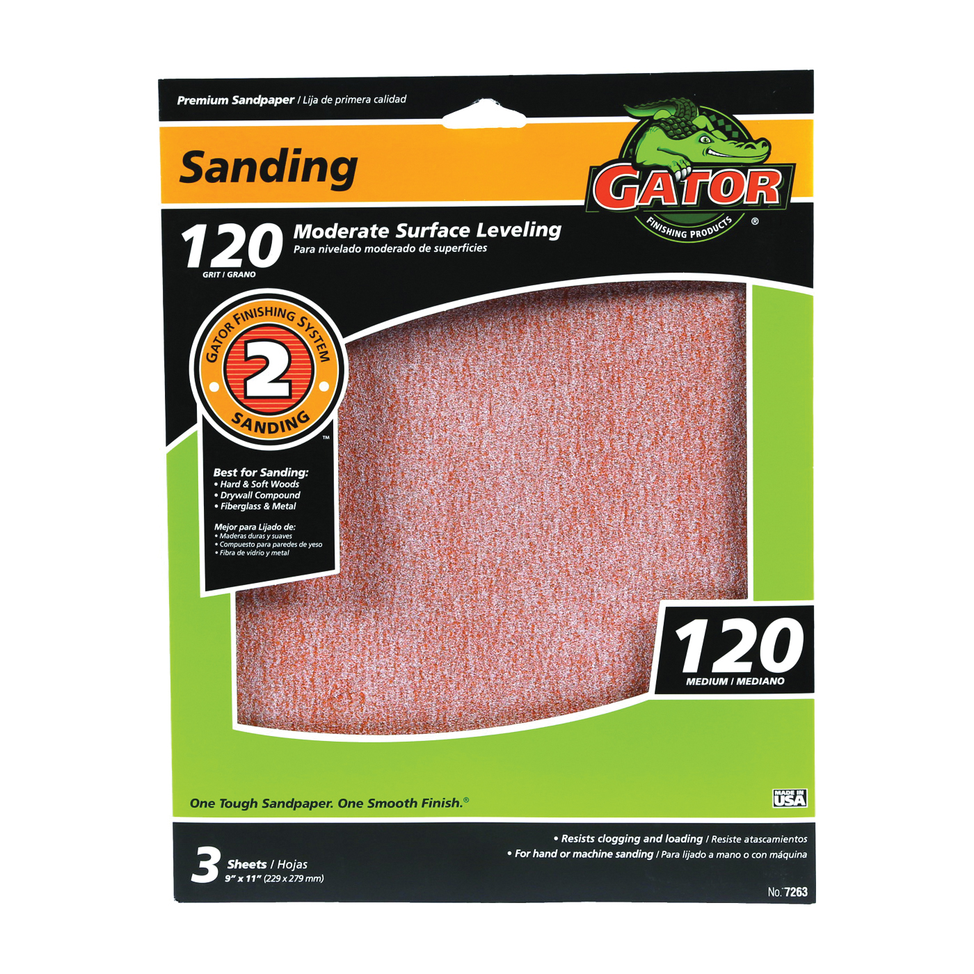 Picture of Gator 7263 Sanding Sheet, 11 in L, 9 in W, 120 Grit, Fine, Aluminum Oxide Abrasive