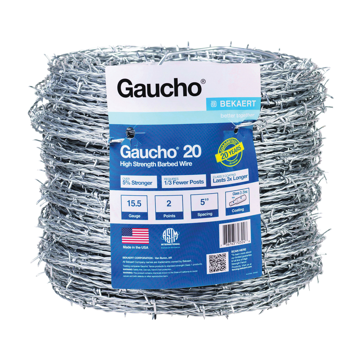 Picture of Gaucho 118290 Barbed Wire, 1320 ft L, 15-1/2 Gauge, Flat Barb, 5 in Points Spacing