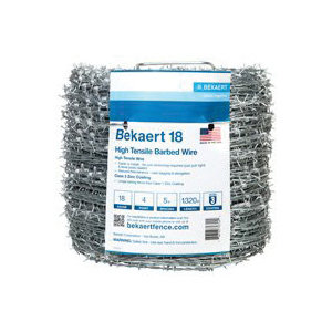 Picture of BEKAERT 206165 Barbed Wire, 1320 ft L, 18 Gauge, Round Barb, 5 in Points Spacing