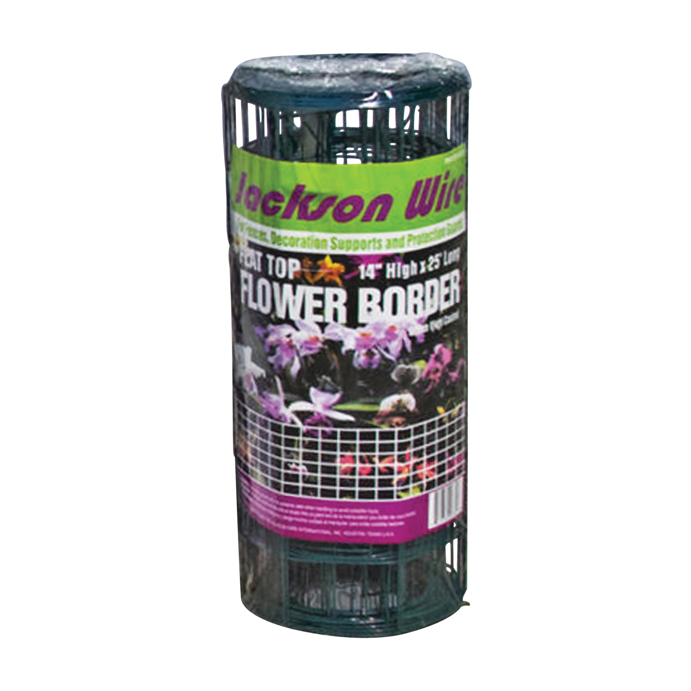 Picture of Jackson Wire 13015330 Flower Fence, 25 ft L, 14 in H, Galvanized Steel, Green