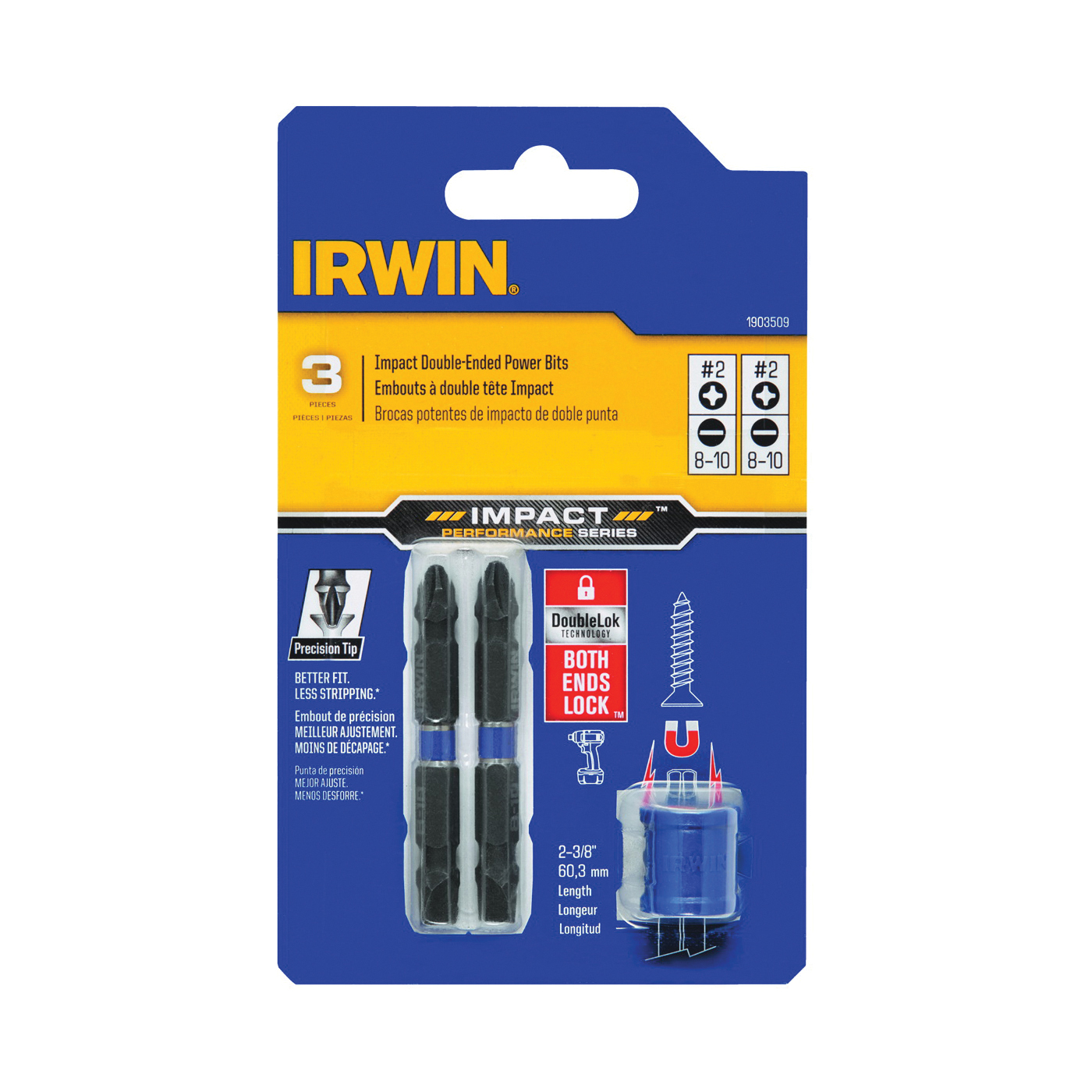 Picture of IRWIN 1903509 Bit Set with Magnetic Screw-Hold Attachment, 3 -Piece, Double Ended, Steel