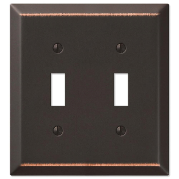 Picture of Amerelle Century 163TTDB Wallplate, 4-15/16 in L, 4-9/16 in W, 2-Gang, Steel, Aged Bronze