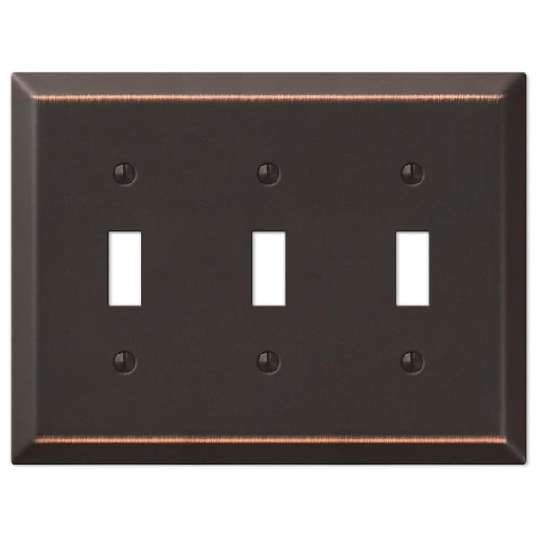 Picture of Amerelle Century 163TTTDB Wallplate, 4-15/16 in L, 6-1/2 in W, 3-Gang, Steel, Aged Bronze