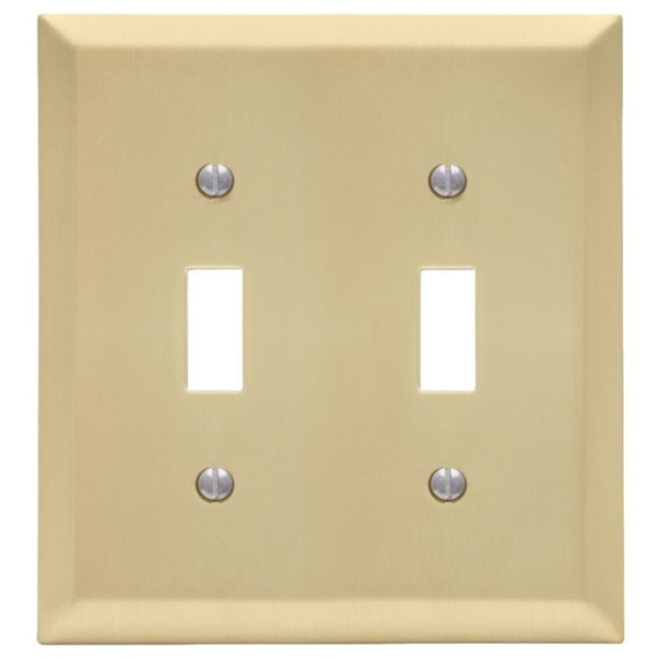 Picture of Amerelle 163TTSB Wallplate, 4-15/16 in L, 4-9/16 in W, 2-Gang, Steel, Satin Brass