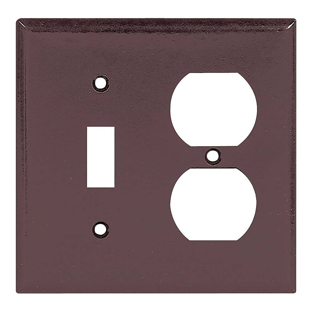 Picture of Eaton Wiring Devices 2138B-BOX Wallplate, 4-1/2 in L, 4-9/16 in W, 2-Gang, Thermoset, Brown, High-Gloss