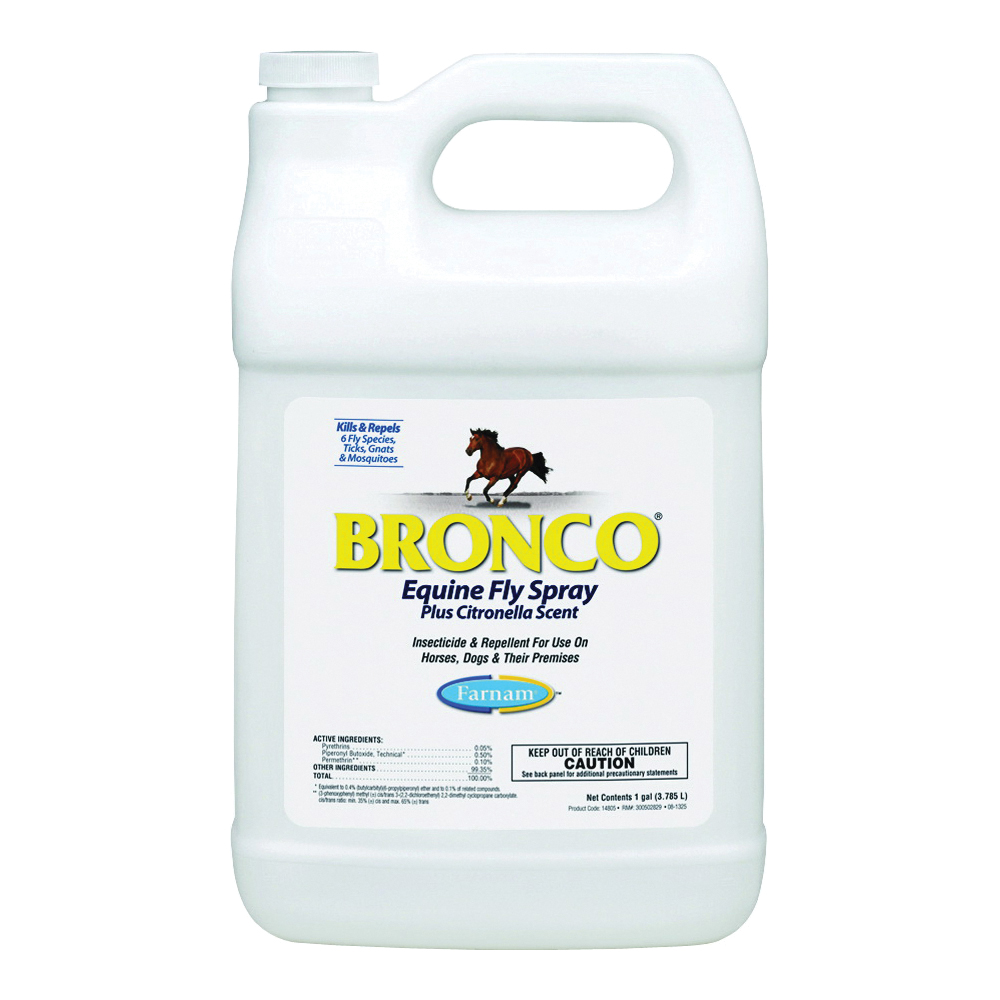 Picture of Farnam Bronco 100502327 Fly Spray, Liquid, Clear, Citronella, 1 gal Package, Bottle