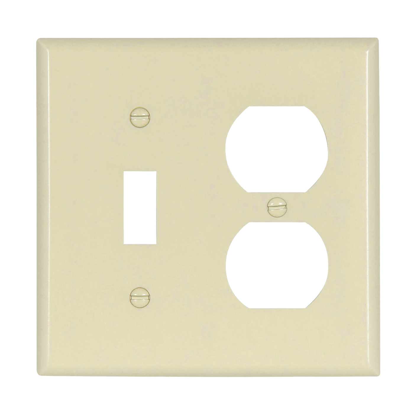 Picture of Eaton Wiring Devices 2138LA-BOX Wallplate, 4-1/2 in L, 4-9/16 in W, 2-Gang, Thermoset, Light Almond, High-Gloss