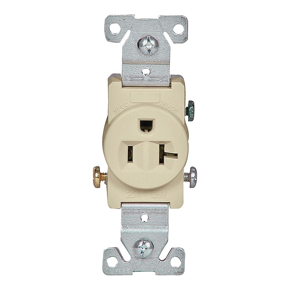 Picture of Eaton Wiring Devices 1877V-BOX Single Receptacle, 2-Pole, 125 V, 20 A, Side Wiring, NEMA 5-20R, Ivory