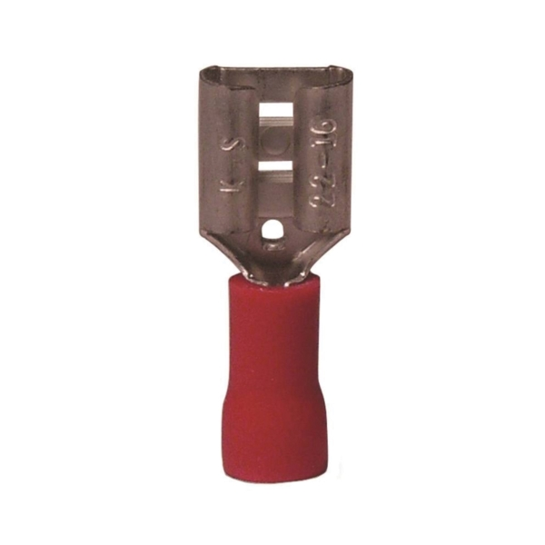 Picture of GB 20-141F Disconnect Terminal, 600 V, 22 to 16 AWG Wire, 1/4 in Stud, Vinyl Insulation, Red, 21/Clam