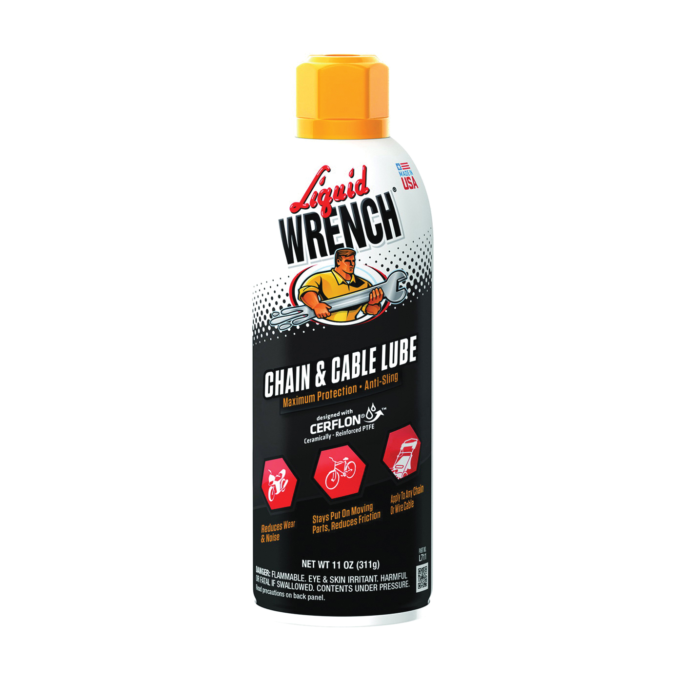 Picture of Liquid WRENCH L711 Chain and Cable Lubricant, 11 oz Package, Aerosol Can, Liquid, Mineral Spirit