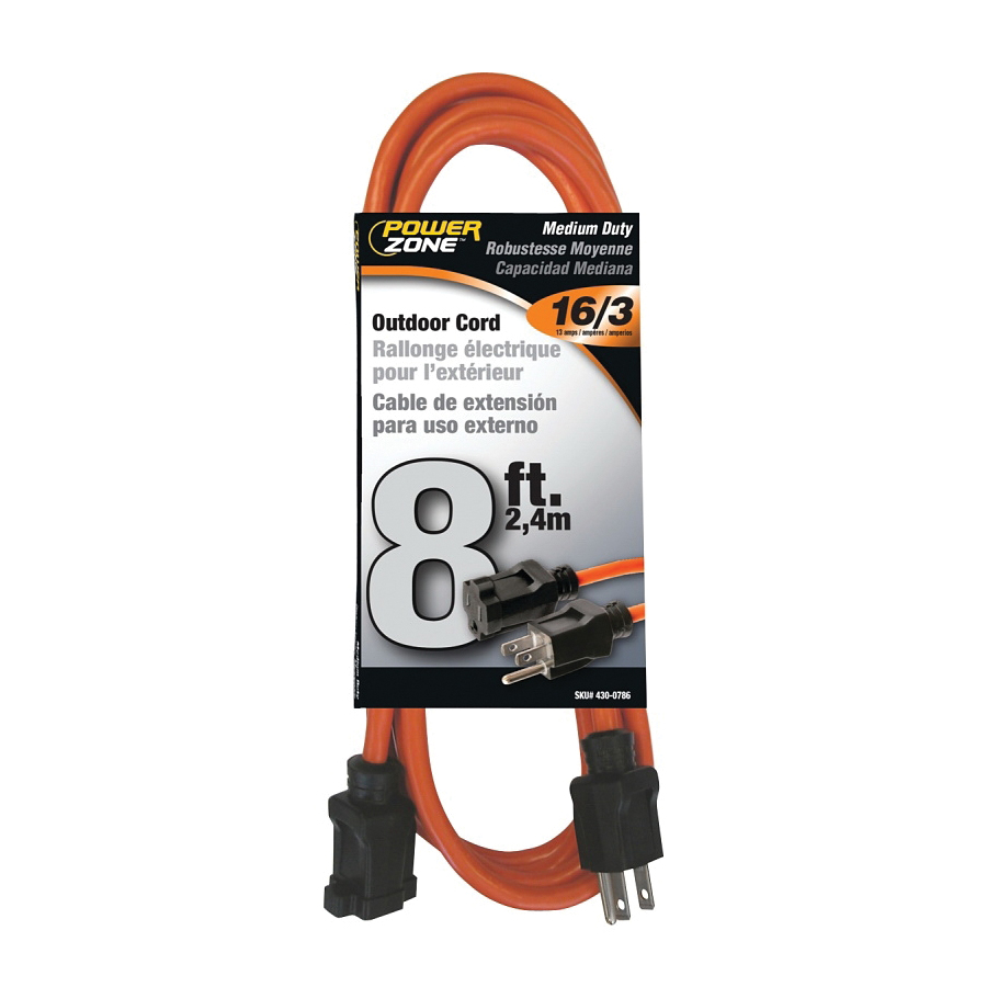 Picture of PowerZone OR501608 Extension Cord, 16 AWG Cable, 8 ft L, 13 A, 125 V, Orange Jacket