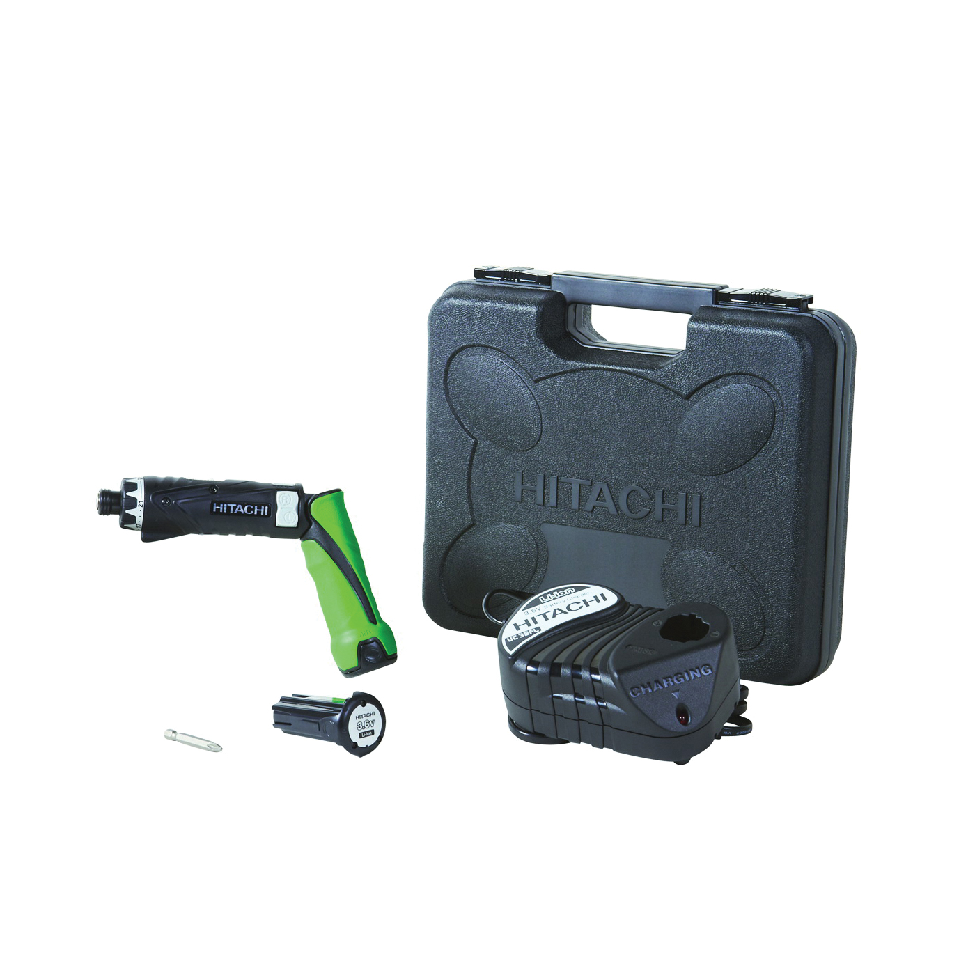 Picture of HITACHI DB3DL2 Adjustable In-Line Screwdriver Kit, Kit, 3.6 V Battery, 1.5 Ah, 1/4 in Chuck, Hexagonal Chuck