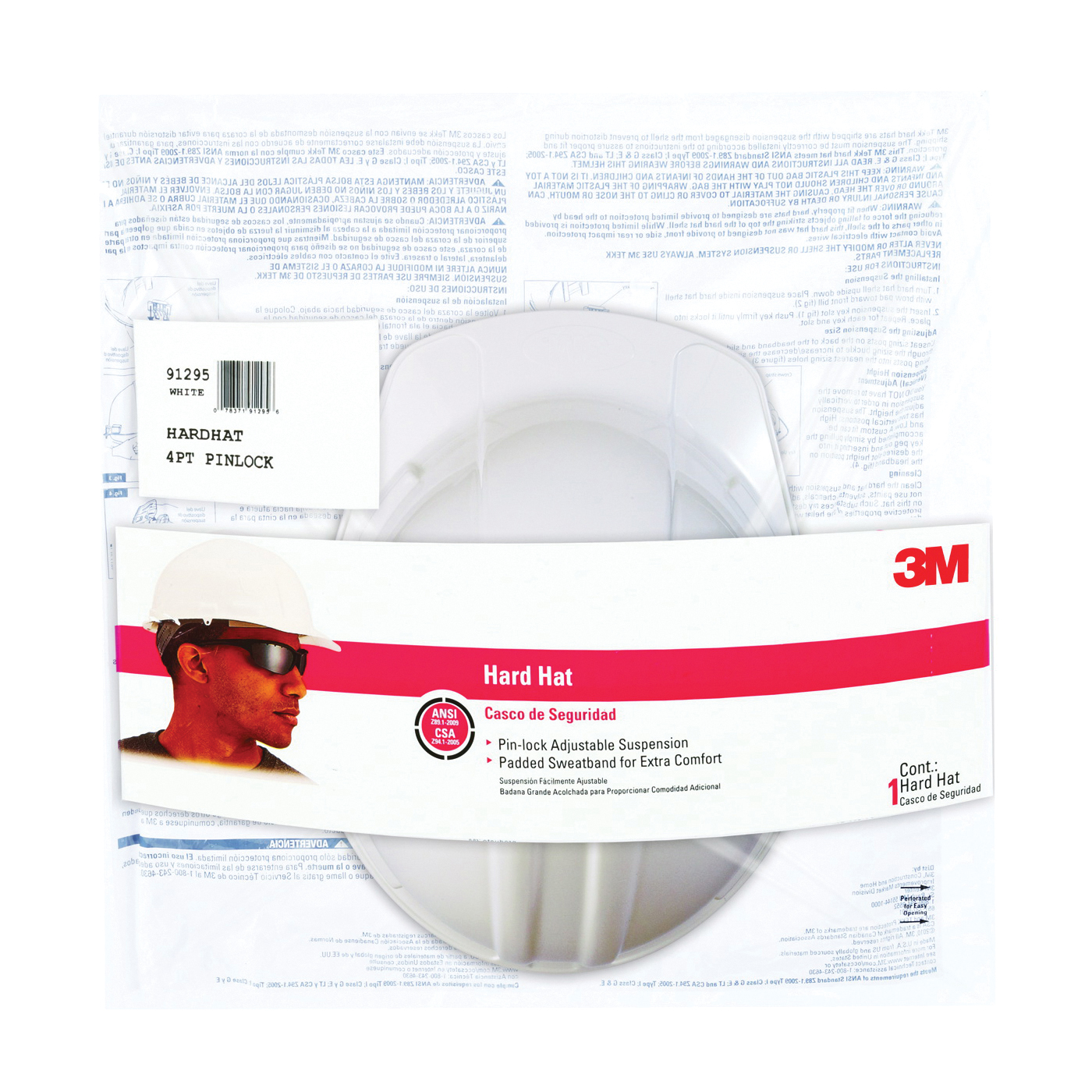 Picture of 3M CHH-P-W12 Hard Hat, 4-Point Suspension, Polyethylene Shell, White, Class: C, E, G