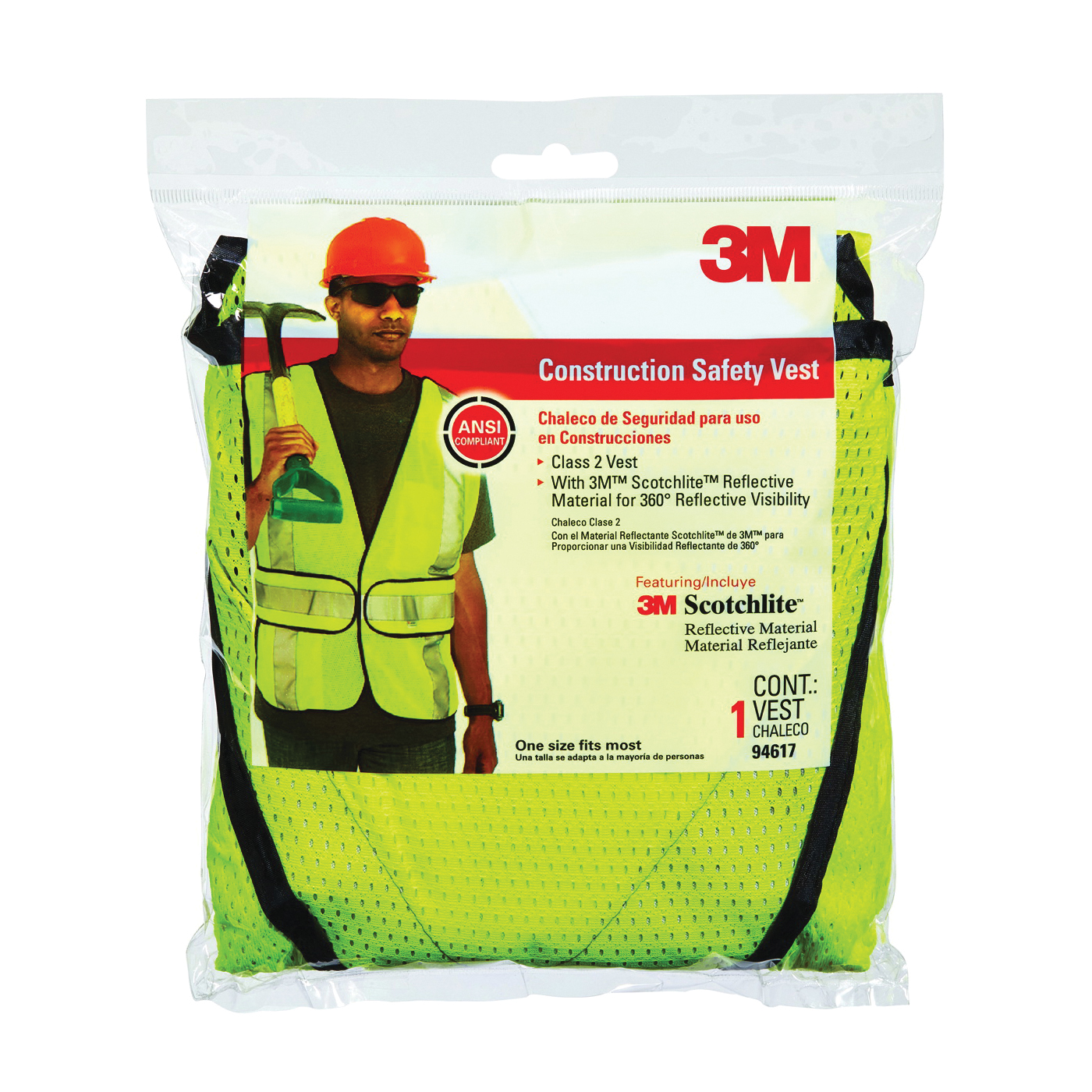 Picture of 3M TEKK Protection 94617-80030T Safety Vest, One-Size, Fabric, Fluorescent Yellow