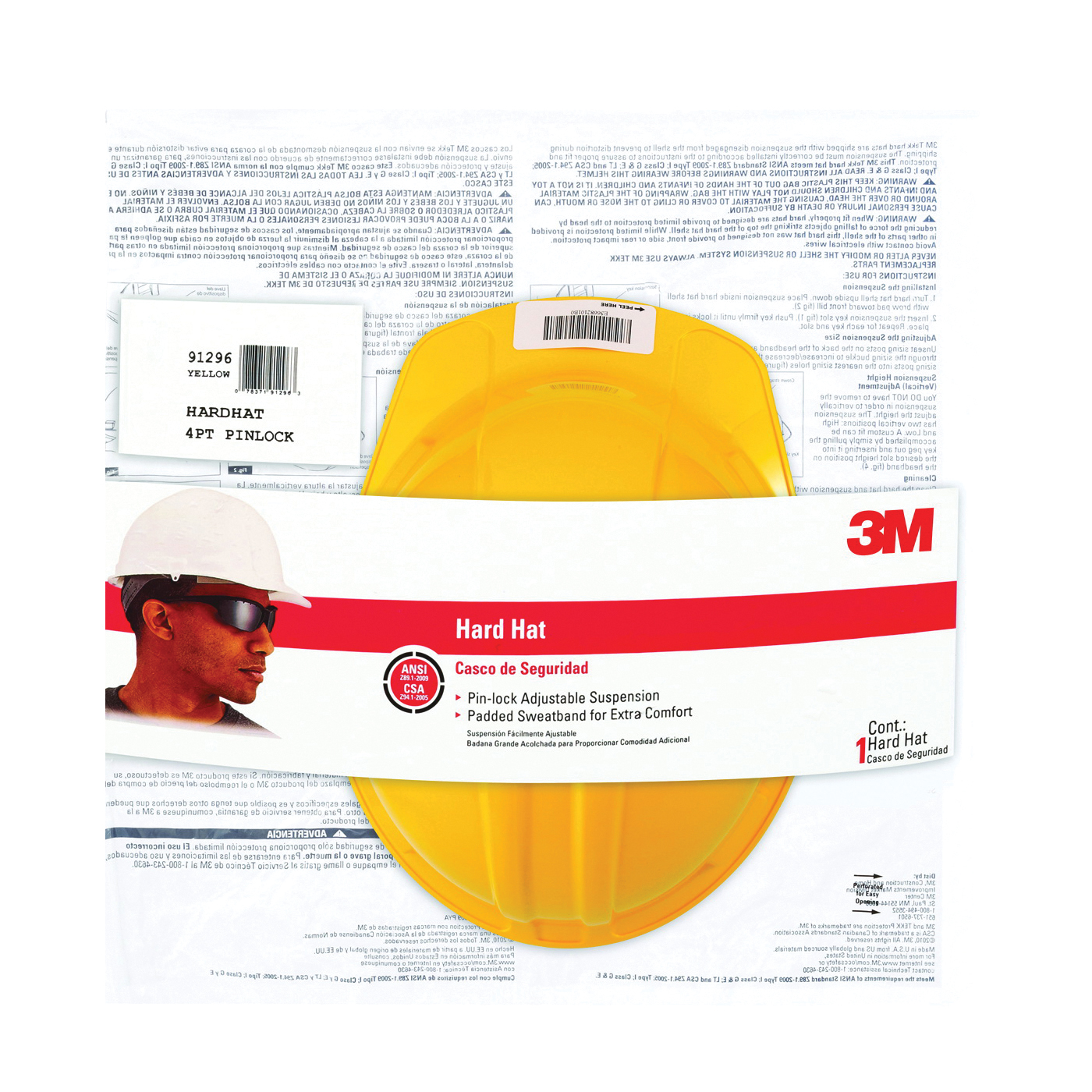 Picture of 3M CHH-P-Y12 Hard Hat, 4-Point Suspension, Polyethylene Shell, Yellow, Class: E, G