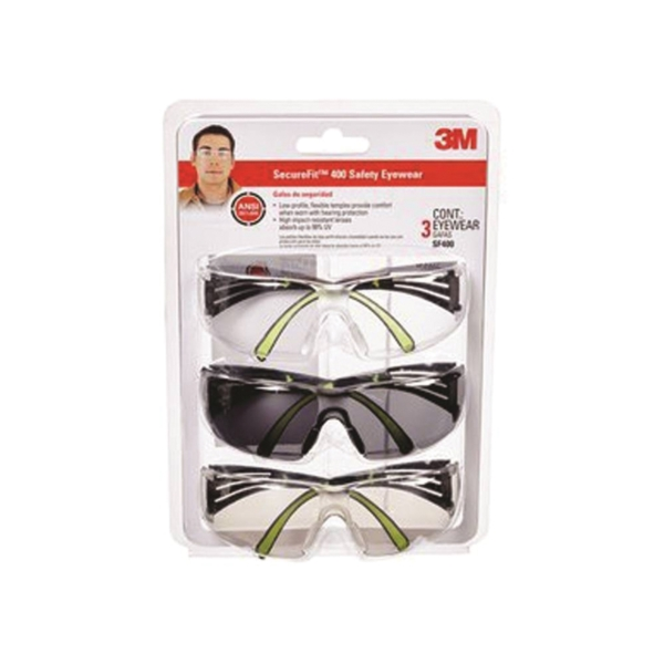 Picture of 3M SF400-W-3PK Safety Eyewear, Anti-Fog, Scratch-Resistant Lens, Neon Green/Black Frame