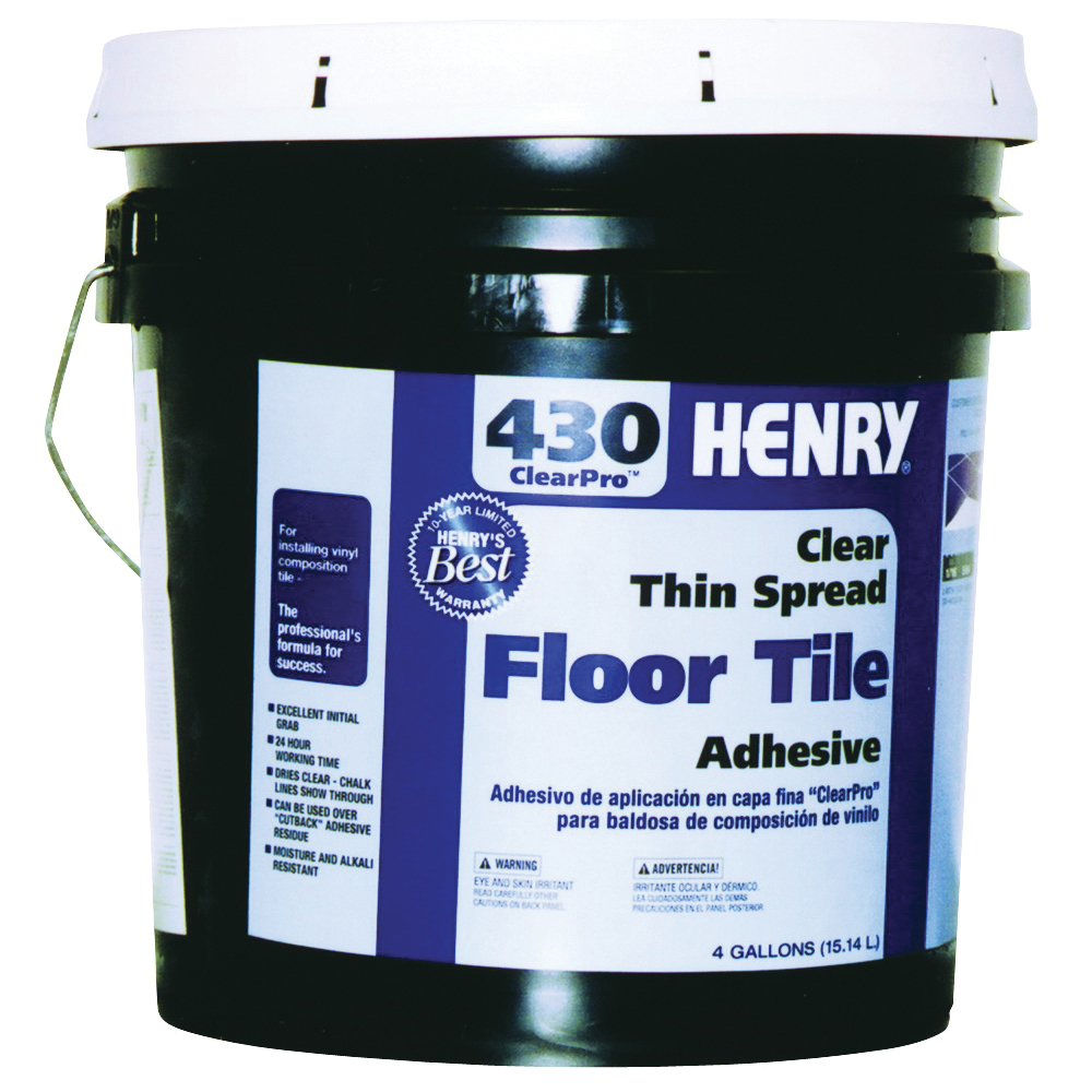Picture of HENRY 430 ClearPro 12102 Floor Adhesive, Paste, Mild, Clear, 4 gal Package, Pail