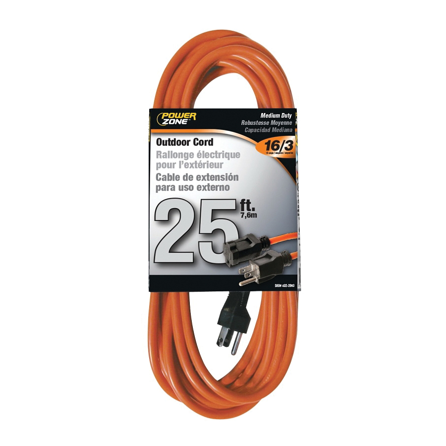Picture of PowerZone OR501625 Extension Cord, 16 AWG Cable, 25 ft L, 13 A, 125 V, Orange Jacket