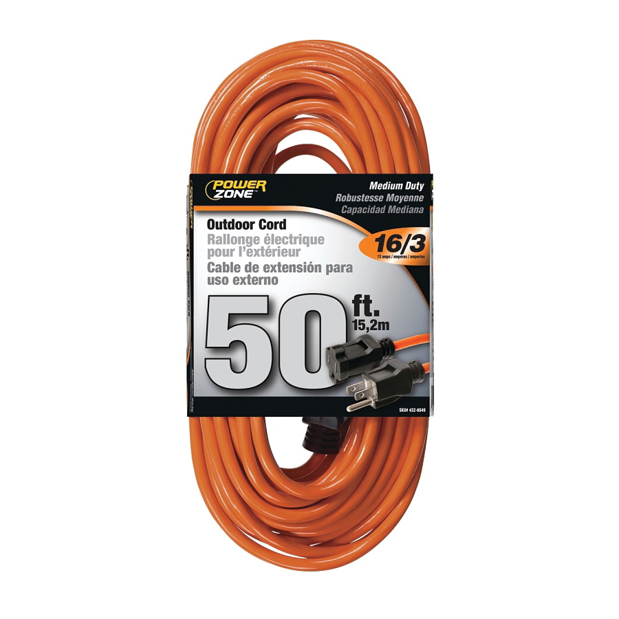 Picture of PowerZone OR501630 Extension Cord, 16 AWG Cable, 50 ft L, 13 A, 125 V, Orange Jacket