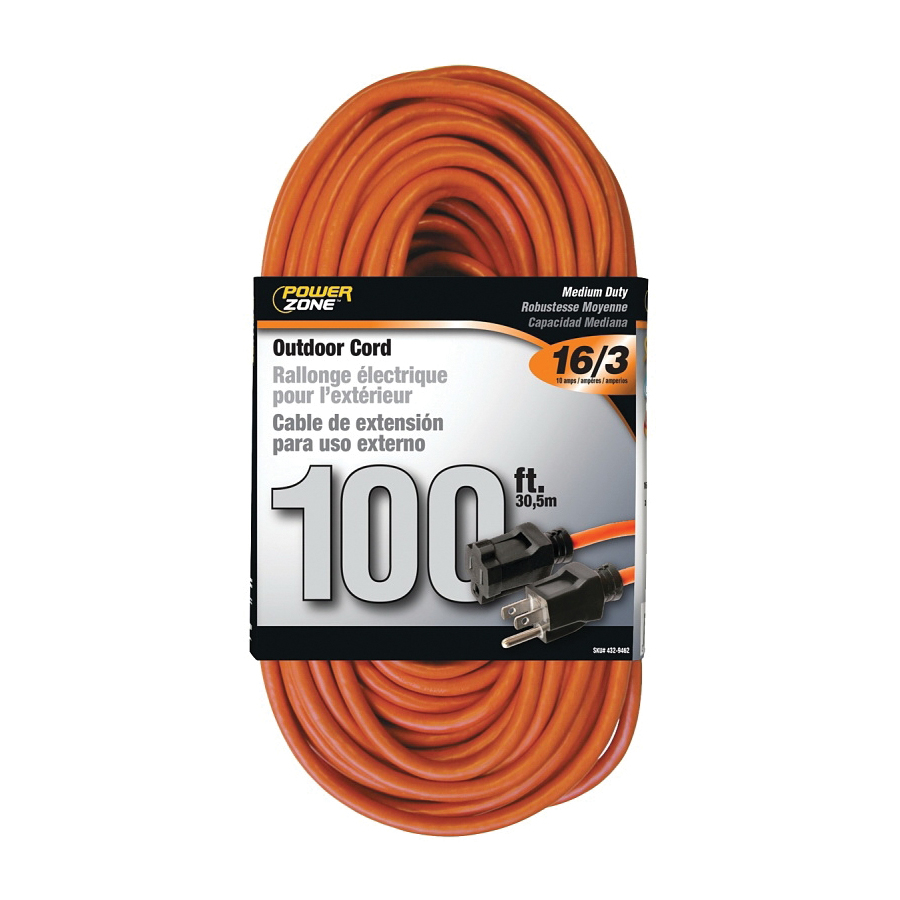 Picture of PowerZone OR501635 Extension Cord, 16 AWG Cable, 100 ft L, 10 A, 125 V, Orange Jacket