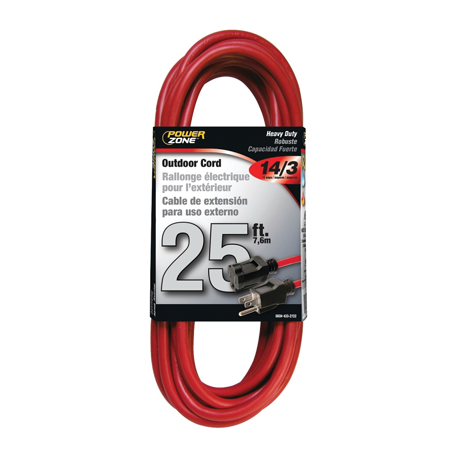 Picture of PowerZone OR514725/506725 Extension Cord, 14 AWG Cable, 25 ft L, 13 A, 125 V, Red Jacket