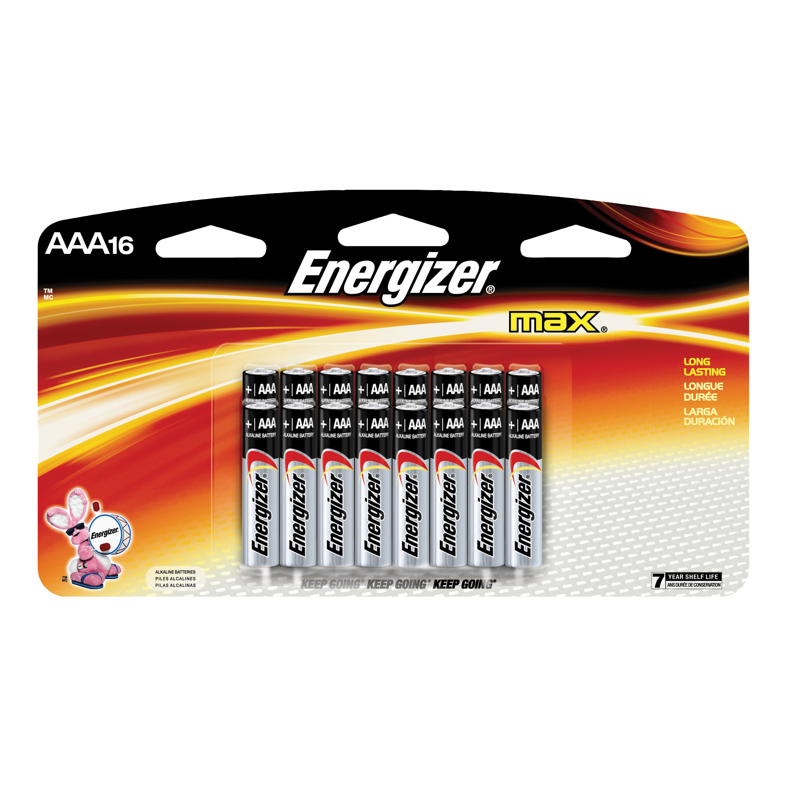 Picture of Energizer E92LP-16 Alkaline Battery, 1.5 V Battery, 1250 mAh, AAA Battery, Zinc, Manganese Dioxide, 16/PK