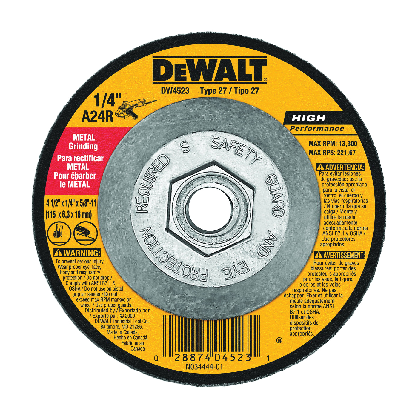 Picture of DeWALT DW4523 Grinding Wheel, 4-1/2 in Dia, 1/4 in Thick, 5/8-11 in Arbor, 24 Grit, Aluminum Oxide Abrasive