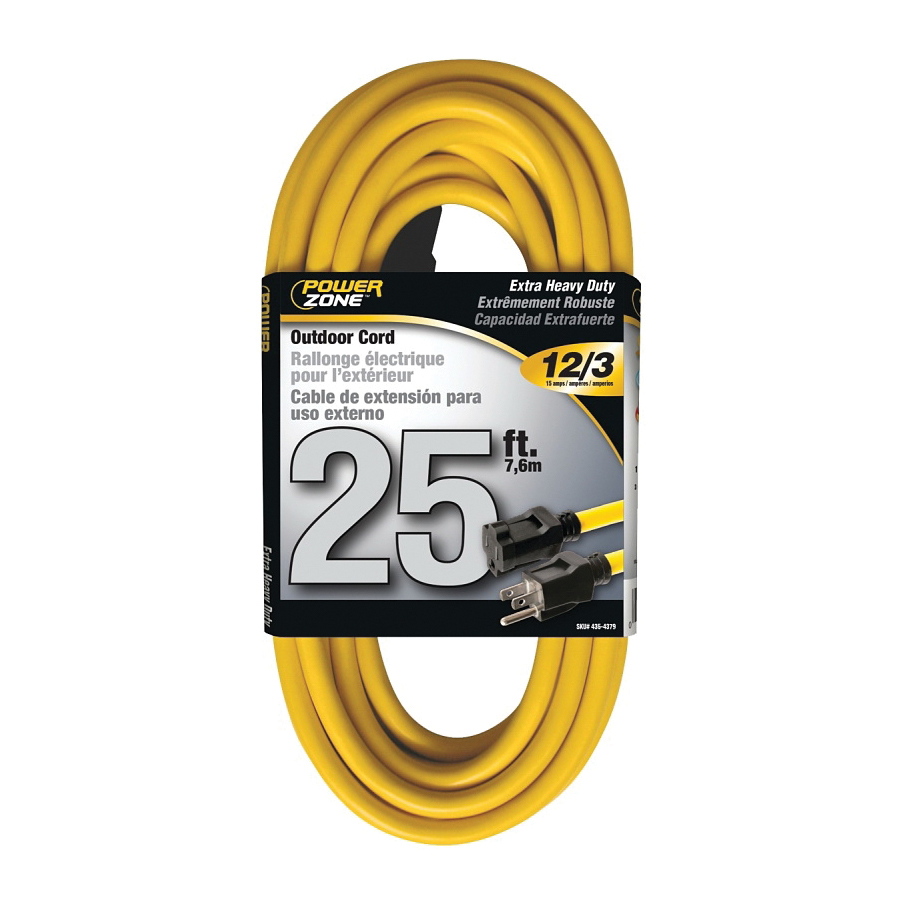 Picture of PowerZone OR500825 Extension Cord, 12 AWG Cable, 25 ft L, 13 A, 125 V, Yellow Jacket